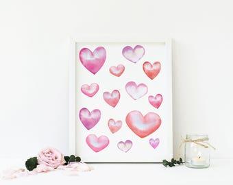 Watercolor Hearts, Valentine's Day Printable Wall Art, Romantic, Nursery Decor, Home Decor, Digital Print, Download