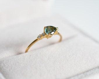Mint Tourmaline Engagement Ring Green Blue Tourmaline Engagement Ring Mint Stone Wedding Ring Mint Tourmaline Ring Blue Tourmaline Ring