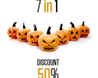 7 in 1 pack !!!! Pumpkin Halloween Decorations   Papercraft Jack-o lantern   Halloween Paper Pumpkin   DIY