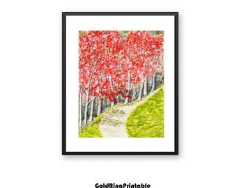 Downloadable.cherry blossom,tree,landscape painting,forest wall art,printable wall art print,instant digital download,wall decor,red green