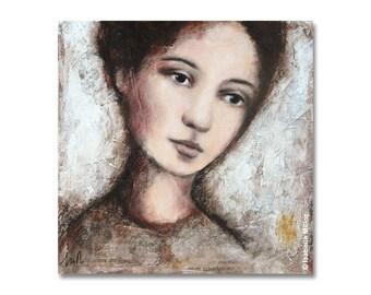 """peinture """"Le murmure du temps"""" femme nostalgique"""