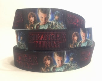 "1 Yard - 1"" Stranger Things Grosgrain Ribbon Horror DIY Key Fob, Lanyard, Pet Accessories, Hair Bow"