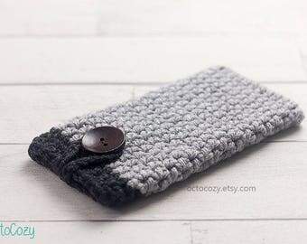 Grey Two-Toned Mobile Phone Case, Cool iPhone Cover, Handmade Crochet Custom Phone Case, Vegan Pouch