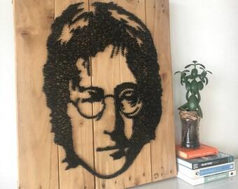 Lennon - Portrait - String Art - Reclaimed Pallet Wood Wall Art - Handmade - PopArt