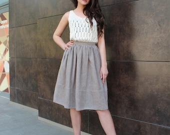 Linen Skirt, Summer skirt, Linen Midi skirt, Linen clothing, Skirt with pockets, Natural linen skirt, Grey linen skirt, Knee length skirt,