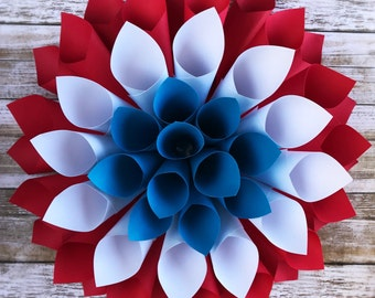 Red White and Blue Paper Flower - 3D Wall Flower - Patriotic Wreath - Fourth of July Decor - Americana Wall Decor - Americana Flower
