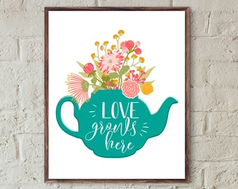 Printable art love grows here love quote print family print wall art home decor digital download poster kitchen decor art anniversary gift