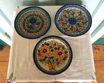 Set of 6 Botanical Polish Pottery Plates