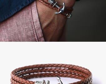 24K Gold plated Anchor bracelet! Brown leather anchor bracelet, mens bracelet, Gift for him, boyfried gift,bracelet homme,