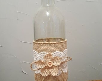 Rustic wine bottle with burlap and lace, great centerpieces for weddings, bridal or baby showers and graduationo parties