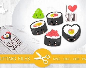I Love Sushi cutting files, svg, dxf, pdf, eps included - cut files for cricut and silhouette - Cutting Files SVG