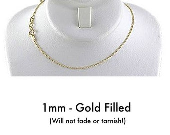 """Sterling Silver or 14K Gold Filled Necklace, 1mm - 2mm Round Bead Ball Chain, 16""""- 30"""" ball necklace, Gold/Silver Necklaces for Women or Men"""