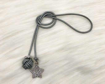 Monkey Fist Knot Leather Bookmark with Dangling Silver Bling Star for your Traveler's Notebook, Planner, or Book