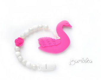 Silicone teether + pacifier Clip | swan teether | Teething toy girl