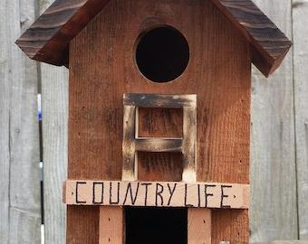 Unique Rustic Birdhouse Bird Feeder Reclaimed wood Handmade!