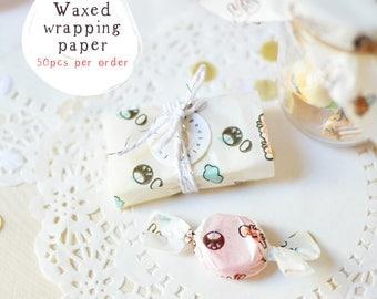 50 Food Grade Waxed Paper Twist Candy Wrappers Cute Kawaii Chibi Cartoons - Handmade Soap, Caramel, Chocolates, Truffle Wrapping Paper