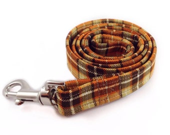 Orange Tartan Dog Lead