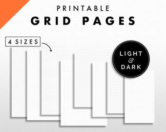 Grid Pages Printable | Light and Dark Grid Lines | 4 Sizes - US Letter, A5, A4, and Personal