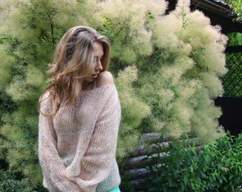 Bohemian beige sweater, Mohair sweater, Chunky knit sweater, Milk spring sweater, Soft knitted sweater, Loose sweater, Off-shoulder sweater