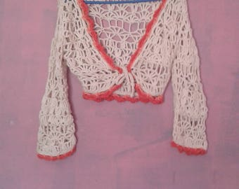 70's Knit Cropped Boho Top size S/M
