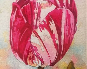 Lipstick Tulip 10 1/2 X 7 1/4 inches original watercolor under 50 pink green flowers
