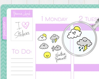 Weather Stickers, Planner Stickers, Weather Tracker, Calendar Stickers, Small Kawaii Stickers, Icon Stickers, Labels