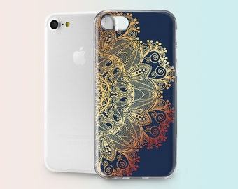 Mandala iPhone 8 Cases iPhone 7 Clear Case Hard Phone Case iPhone 6s Plus Case iPhone X Case iPhone 8 Plus Cover iPhone SE Case 5c 5 AND1011