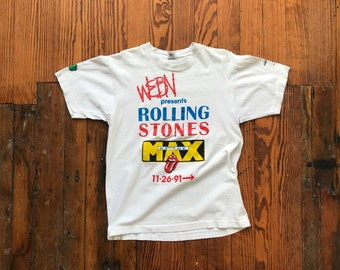 1991 Medium Rolling Stones WEBN at the Max Tour T-Shirt Fruit of the Loom USA