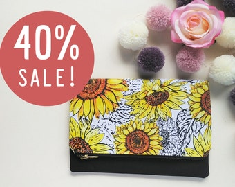 Yellow Floral Clutch Bag | Yellow Evening Clutch Handbag | Yellow Foldover Clutch Bag | Bridal Clutch | Bridesmaid Clutch | iPad Case