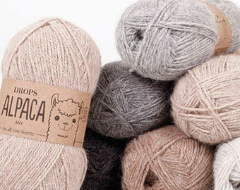 Alpaca yarn, Sock yarn, Knitting wool, Natural fiber yarn, Alpaca wool yarn, Alpaca fiber, Drops Alpaca, Sport weight yarn, Superfine alpaca