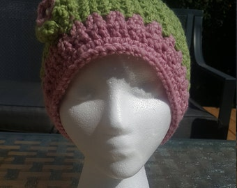 Crochet pink and green hat