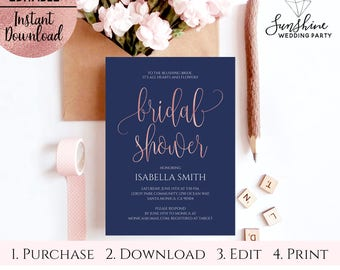 Navy Blue Rose Gold Foil Bridal Shower Invitation Template, Printable 5x7 Script Font Invitation Template, Editable PDF, Digital Download
