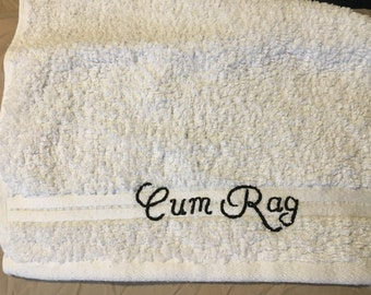 Fancy Cum Rag in Small Washcloth Size Cursive Font Eco Friendly After Sex Clean Up White All Cotton Towel Male Female Ejaculate Adult Humor