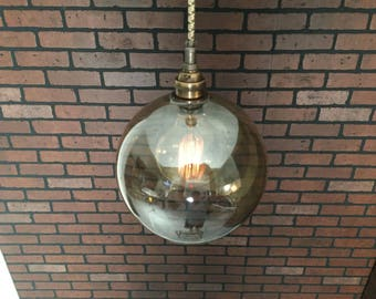 "Industrial Pendant Light -Antique Brass 8"" Smoked Glass Open Globe  w/ Pat. Pend ""SIMPLE PLUG"" Electrical Connectors and Edison Globe Bulb"