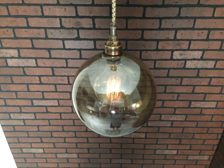 Industrial Pendant Light -Antique Brass 8 Smoked Glass Open Globe w ...