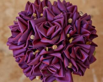 Magenta Taffeta and Citrine Bridal Bouquet