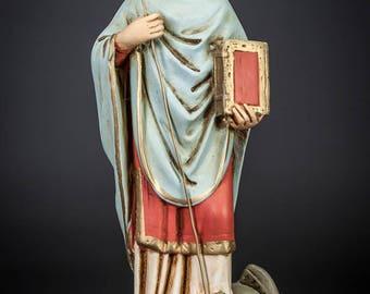 """St Gotthard of Hildesheim Statue   Saint Godehard Figure   Vintage Plaster Figurine   RARE   11"""" Large"""