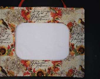 fabric picture frame with fall theme for cross-stitch, embroidery or photographs