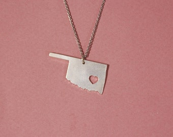 Oklahoma necklace Oklahoma state necklace sterling silver state of Oklahoma pendant heart Oklahoma necklace Oklahoma map necklace