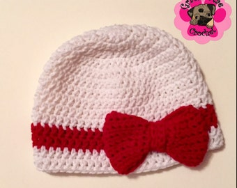 Darling white with big red bow crochet hat