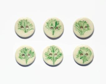 6 Ceramic Buttons - Porcelain Button - Handmade 23mm Button - Garden Lover Gift - For Knitters - Sewing Buttons - Flower Buttons Green