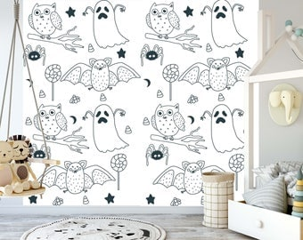 removable wallpaper for coloring mural peel stick for kids and adults happy halloween - Coloring Book Wallpaper