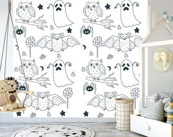 Removable Wallpaper For Coloring Mural Peel Stick Kids And Adults Happy Halloween