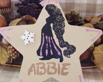 Handmade Personalised Disney Princess Rapunzel Tangled Glitter Christmas Tree Decoration Star Hanging Ornament Home Decor Gift