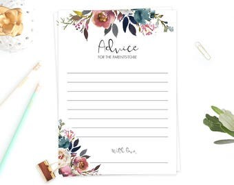 Advice for the New Parents Cards Printable Advice Cards Baby Shower Floral Baby Party Games Instant Download Purple Flowers Watercolor LF1