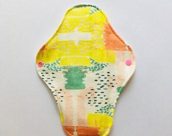 "9.8"" Cloth Menstrual Pad, Reusable Washable Cloth Pad, regular Moderate Flow, Mama Cloth, Waterproof Cloth Pads, Wabi Sabi Water colour"