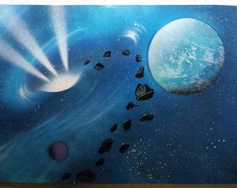 "Spiral Galaxy | 15"" x 22"" Spray Paint Art"