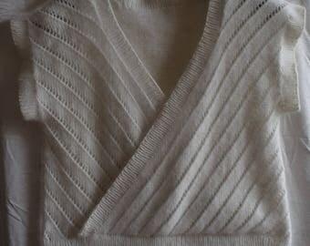 Hand knitted lace angora/wool slip.