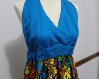 60's/70's Vintage Blue floral Maxi Halter Dress