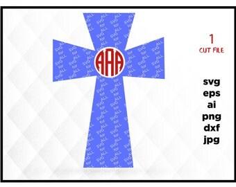 Monogram cross SVG instant download design for cricut or silhouette, cross svg
